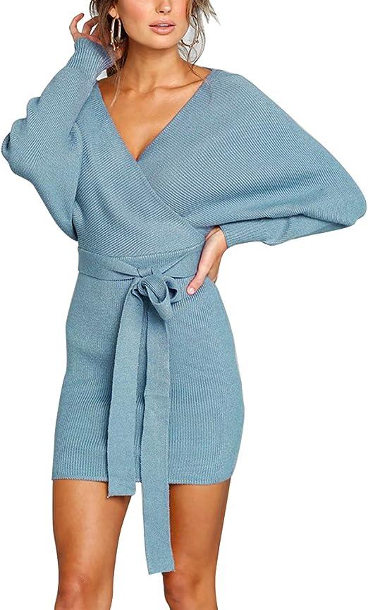 Yieune Strickkleid Damen Elegant V Ausschnitt Pulloverkleid