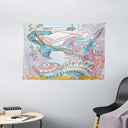 Ambesonne Mermaid Tapestry, Cartoon Mermaid in Sea Sirens of Greek Myth Female Human with Tail of Fish Image, Wide Wall Hanging for Bedroom Living Room Dorm, 60 X 40 , Pink Blue