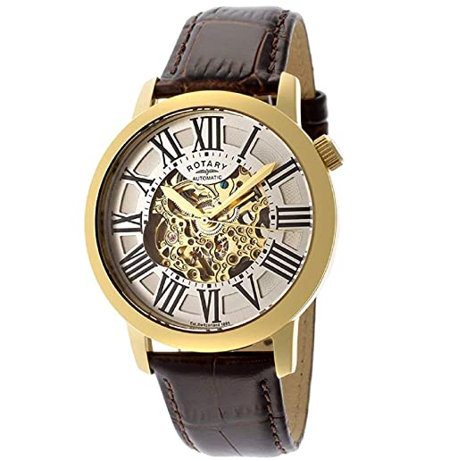 b95644bbbdf Rotary Mens Skeleton Automatic Watch with Leather Strap GLE000013 21S   Amazon.co.uk  Watches