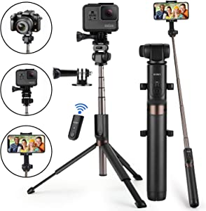 Selfie Stick Bluetooth, Newest Version Extendable Selfie Stick with Wireless Remote and Tripod for iPhone Xs MAX/XR/XS/X/iPhone 8/8 Plus/iPhone 6/Galaxy S9/S9 Plus/Note 8 Google, Huawei and More