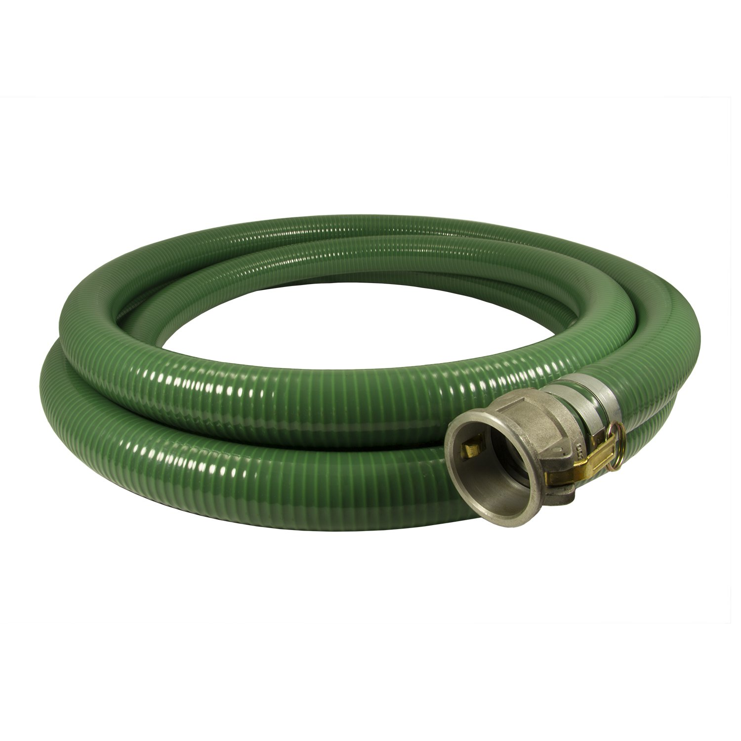 Anderson Process 4'' X 20' Green PVC Water Suction Hose Assembly w/ Cam Lock Fittings