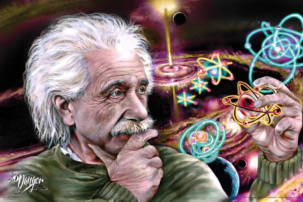 Pyramid America James Danger Quasar Star Color Albert Einstein Science Classroom Scientist Teacher Education Cool Wall Decor Art Print Poster 12x18