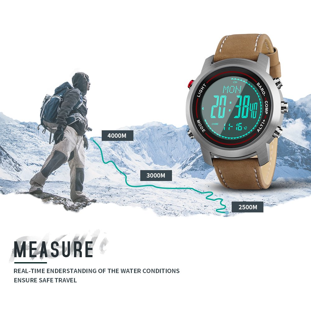 bea7352e8 Men Digital Sports Watches with Compass Pedometer Altimeter Barometer  Military Waterproof Wristwatch with Leather Band