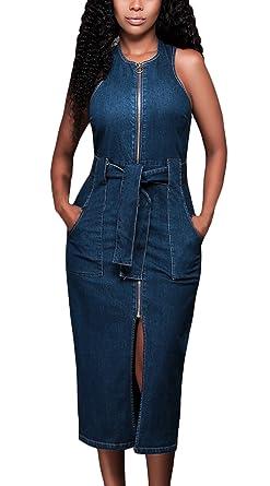 Sommerkleider Damen Jeanskleid Elegant ärmellos Rundhals Slim Fit