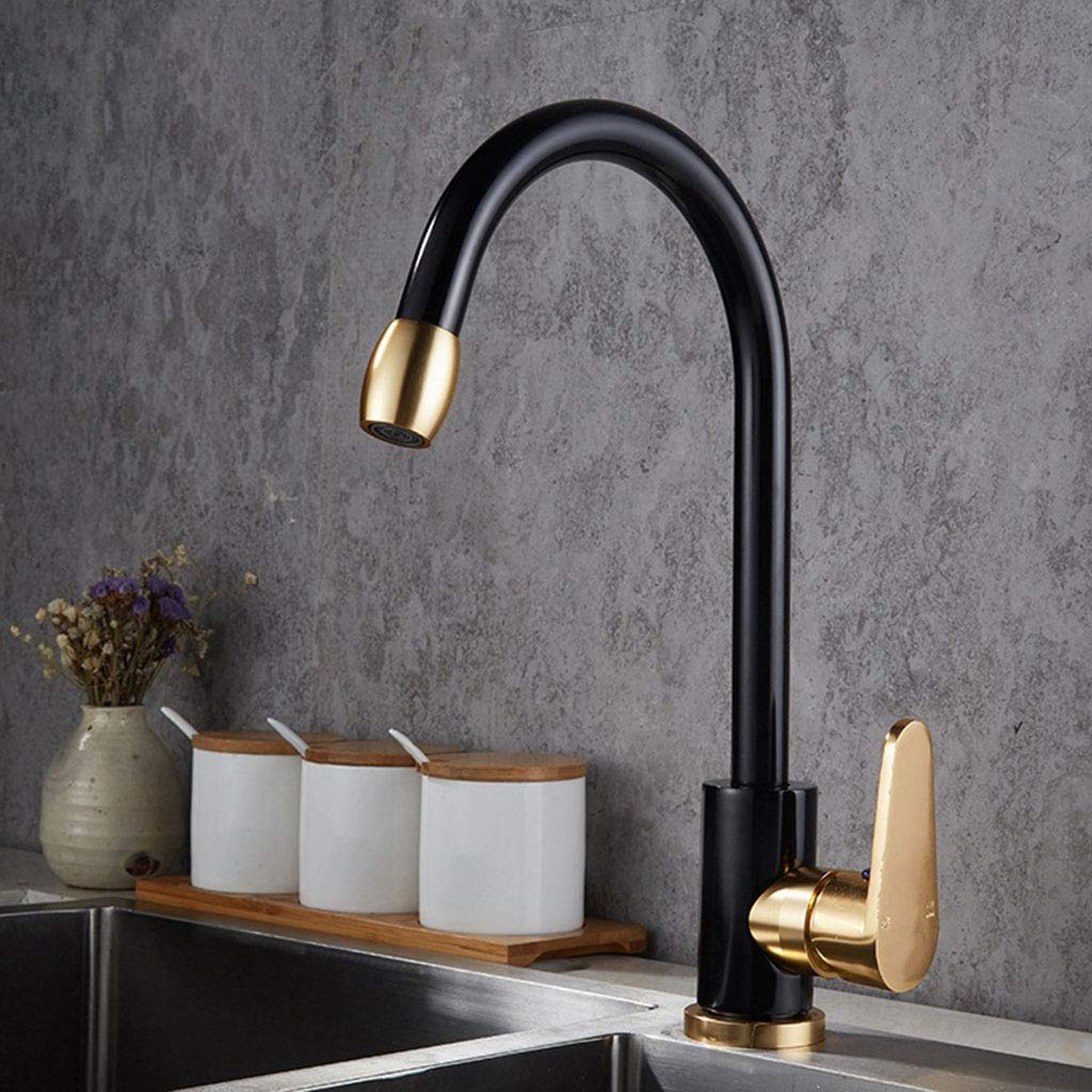 Iashion Space Aluminum Faucet, Kitchen Faucet, Dish and Hot and Cold Water Mixer,Black,Gold