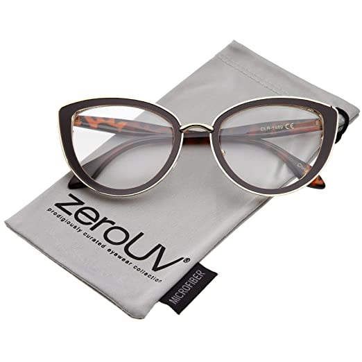 c13f748f99e zeroUV - Women s High Sitting Temples Teardrop Clear Lens Cat Eye Glasses  53mm (Brown-