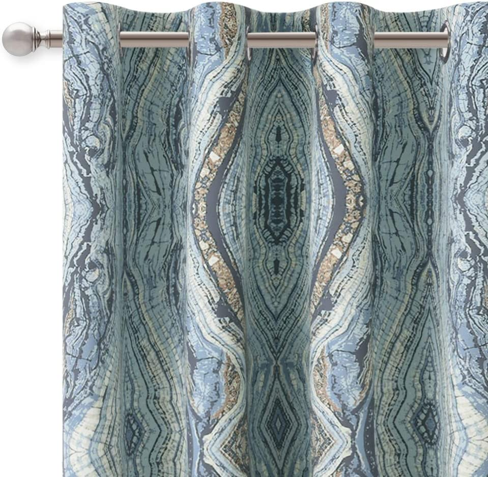 KGORGE Print Blackout Curtains for Living Room with Tree Stripe Pattern, Grommet Top Room Darkening Energy Saving Drapes for Bedroom, 52 x 63 Inch, Blue, 2 Panels
