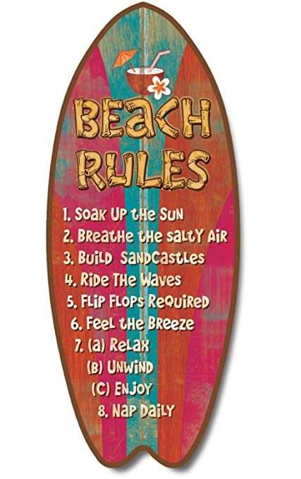 Nueva placa tabla de surf beach Rules Sign Surf arena sol ondas Coastal Decor Wall Art