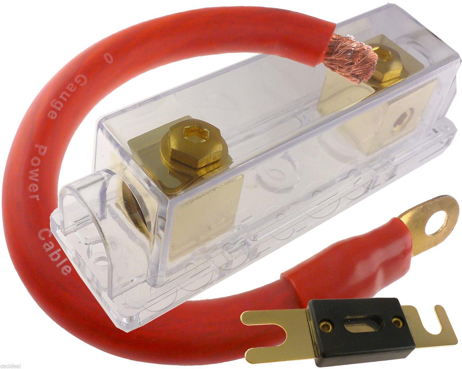 Audiotek 0 GAUGE PREWIRED ANL 250 Amp Fuse Holder fuseholder INLINE BATTERY INSTALL 1 FT