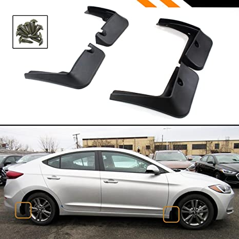 Cuztom Tuning For 2017 2018 Hyundai Elantra 4 Door Sedan 4 Pcs Front Rear Splash Guard Mud Flap Set