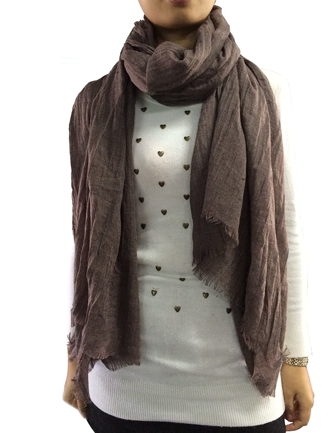 Only Faith Women's Large Thinnish Pure Color Scarf Joker Burrs Shawl Grey