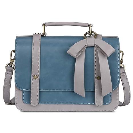 das Neueste 6db99 31ef4 ECOSUSI Umhängetasche Damen Handtasche Kleine Schultertasche mit  Abnehmbarer Schleife Crossbody Tasche Damen Blau