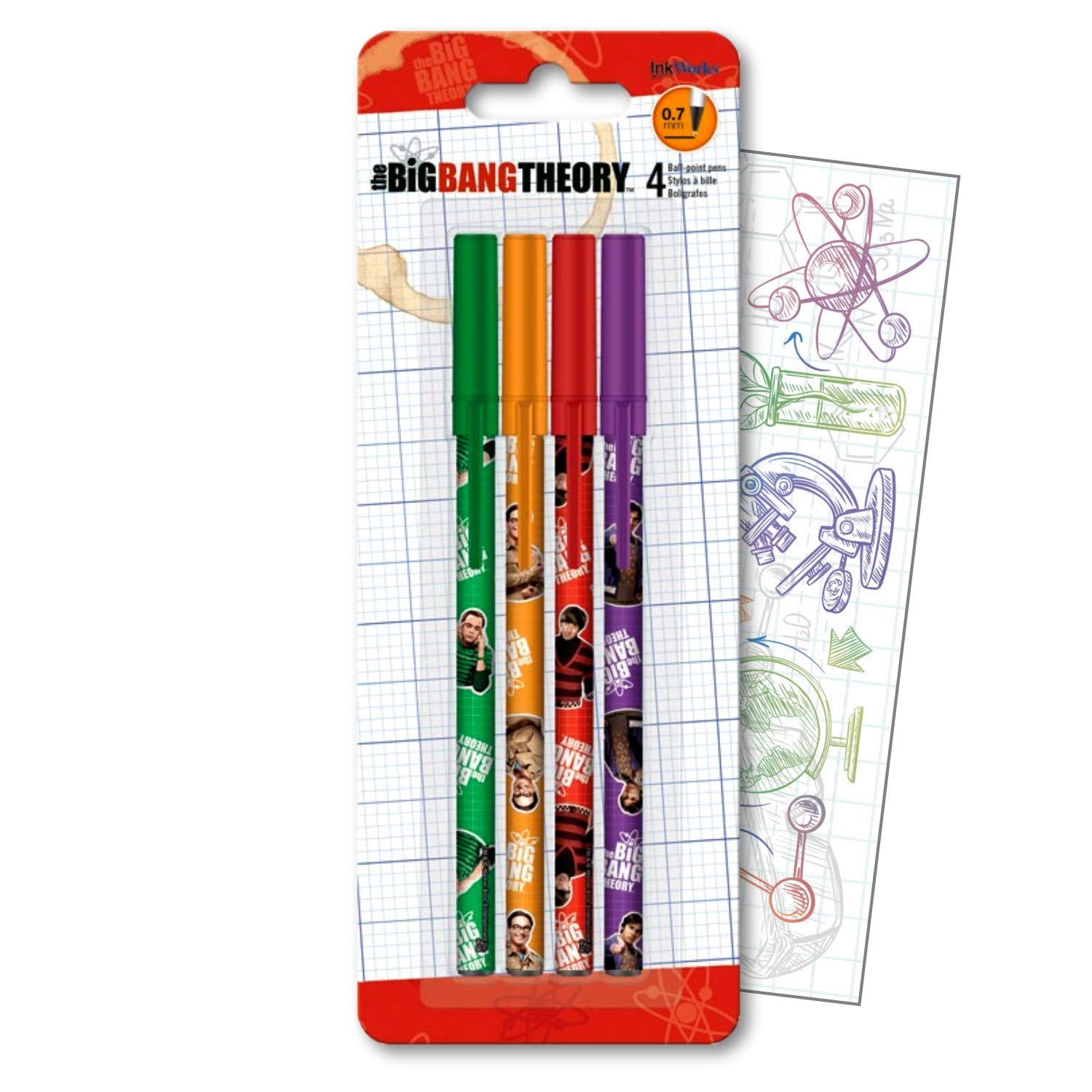 Big Bang Theory Pens 4 Pack with Separately Licenced GWW Specialty Science Bookmark