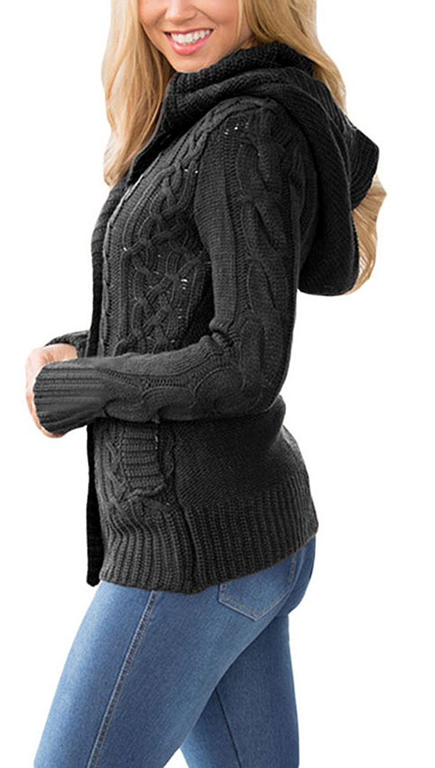 Brighty-U Novel and attractive Women's Hooded Cable Knit Button Down Cardigan Sweaters Fleece Jackets(7 Color,XS-XXL) Dark GreyX-Small