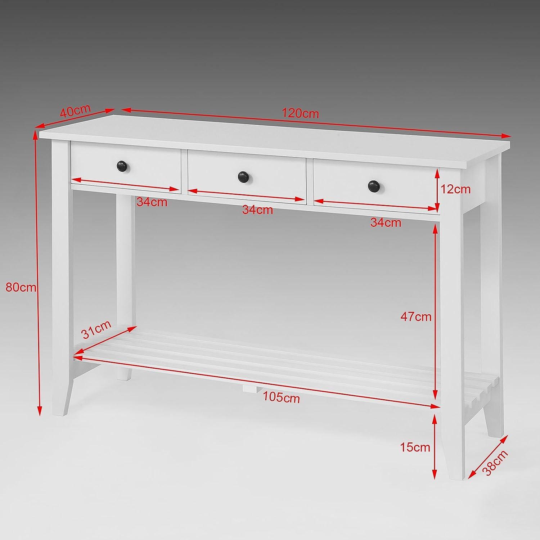 SoBuy® Mesa auxiliar con 3 cajones y tablero o estante, mueble ...
