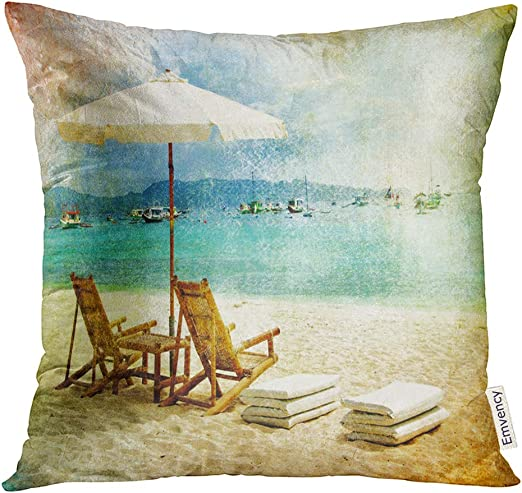 Decorative Throw Pillow Cover Case Sofa Couch Tropical Sea 18x18 VHC Brands