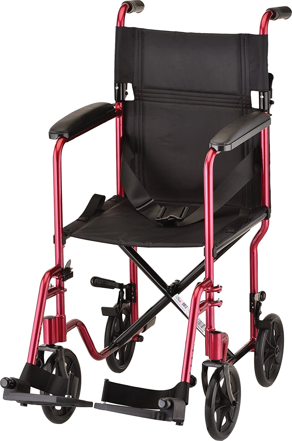 "NOVA Medical Products Lightweight 327 Transport Chair, Folds Compact for Car Trunks and Storage, More Narrow Frame, Great for Travel, Color Red, 17"": Health & Personal Care"