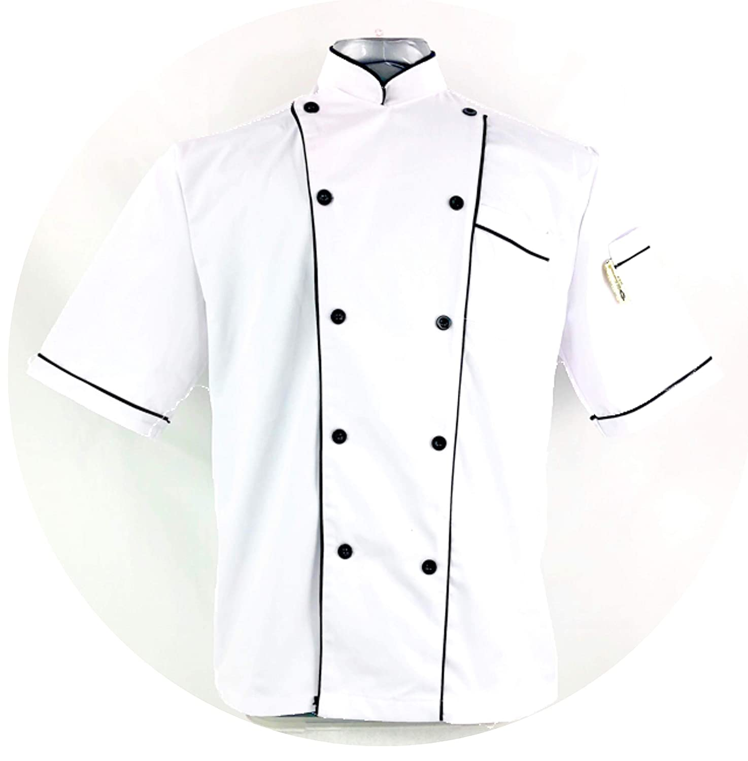Uniform Chef Coat Unisex Short Sleeve Catering Jackets for Food Staff 180128006