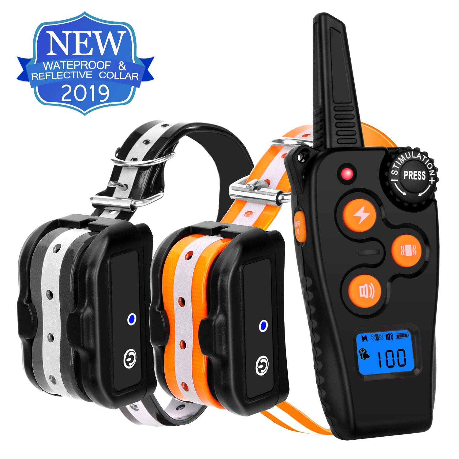 Gelicath Shock Collar for Dogs,1800ft 100% Waterproof Dog Training Collar with Beep/Vibration/Shock Collar with Remote for Small Medium Large Dogs (2 Collars) by Gelicath