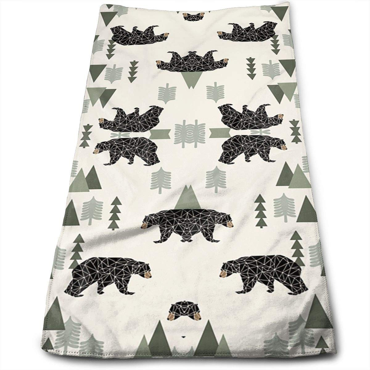 OQUYCZ Forest Bear Neutral Forest Mountain Multi-Purpose Microfiber Towel Ultra Compact Super Absorbent and Fast Drying Sports Towel Travel Towel Beach Towel Perfect for Camping, Gym, Swimming.