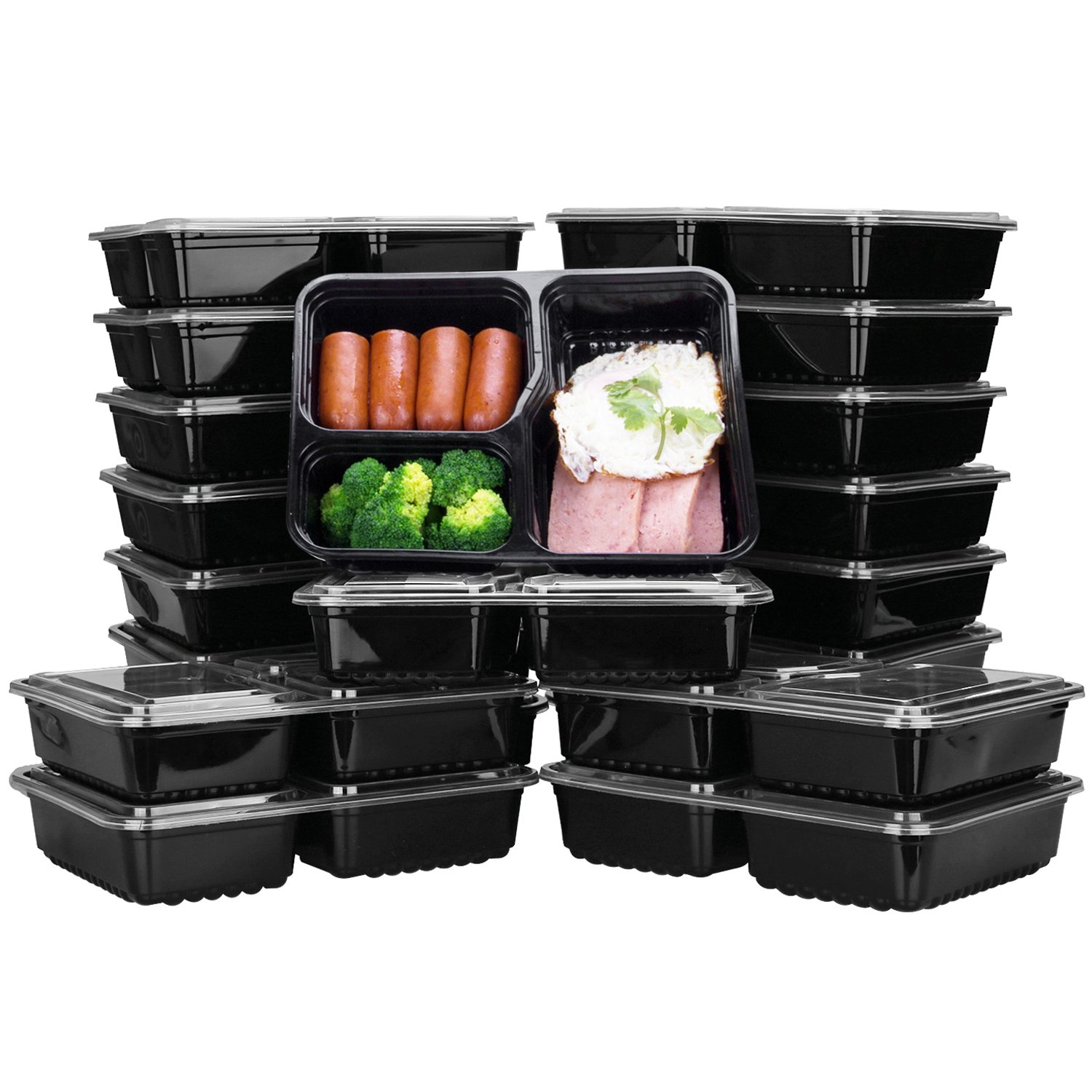Meal Prep Containers 3 Compartment, Mayetori Reusable [20 Pack] Food Prep Containers with Lids, BPA Free Lunch bento Box, Microwave, Dishwasher and Freezer Safe(32OZ)
