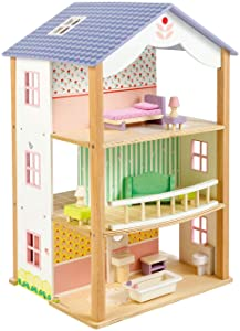 "3 Storey Bluebird Villa Doll House with Swivel Base - 26"" Tall Classic Doll House with 8 Rooms and 15 Doll Furniture Pieces - Premium Quality Construction - Develops Social & Emotional Skills - 3 +"