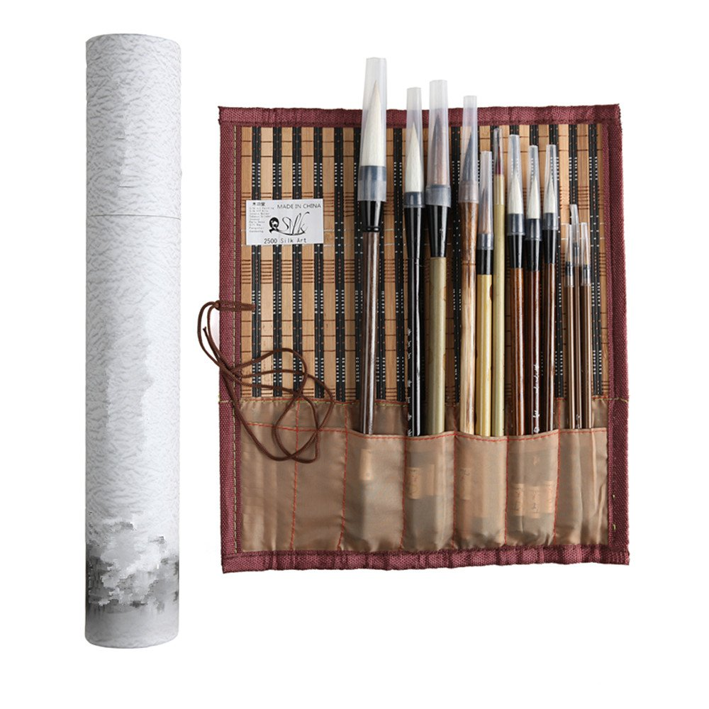 2500 Silk Art China Hu Writing Brush Chinese Calligraphy Kanji Japanese Sumi Drawing Brushes 6 piece//set and brush hanger Rack Wenge Penholder MBT6BJ