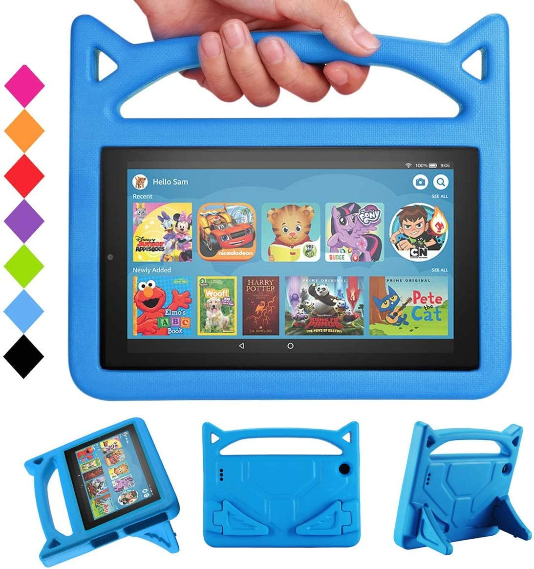 2019 New 7 Tablet Case for Kids - SHERBORN Kids Shockproof Foam [Kids Friendly] Case with Stand Cat Ear Handle Kids Cover for 7 Tablet(Compatible with 9th Generation 2019 & 7th Generation 2017)-Blue