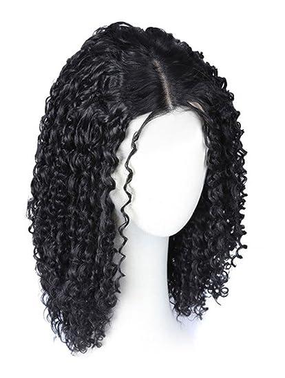 Pelucas Químicas Lady Wigs Natural Pelucas Rizadas De Longitud Media Pequeño Ondulado,Black