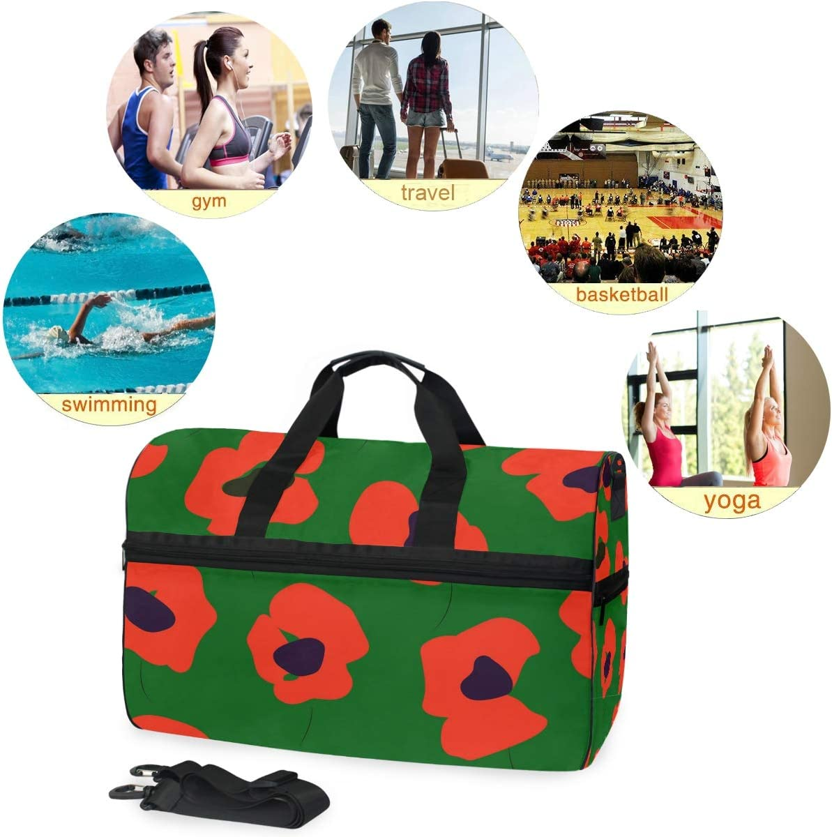 WIHVE Sports Gym Bag with Shoes Compartment Red Poppy Flowers Travel Duffel Bag