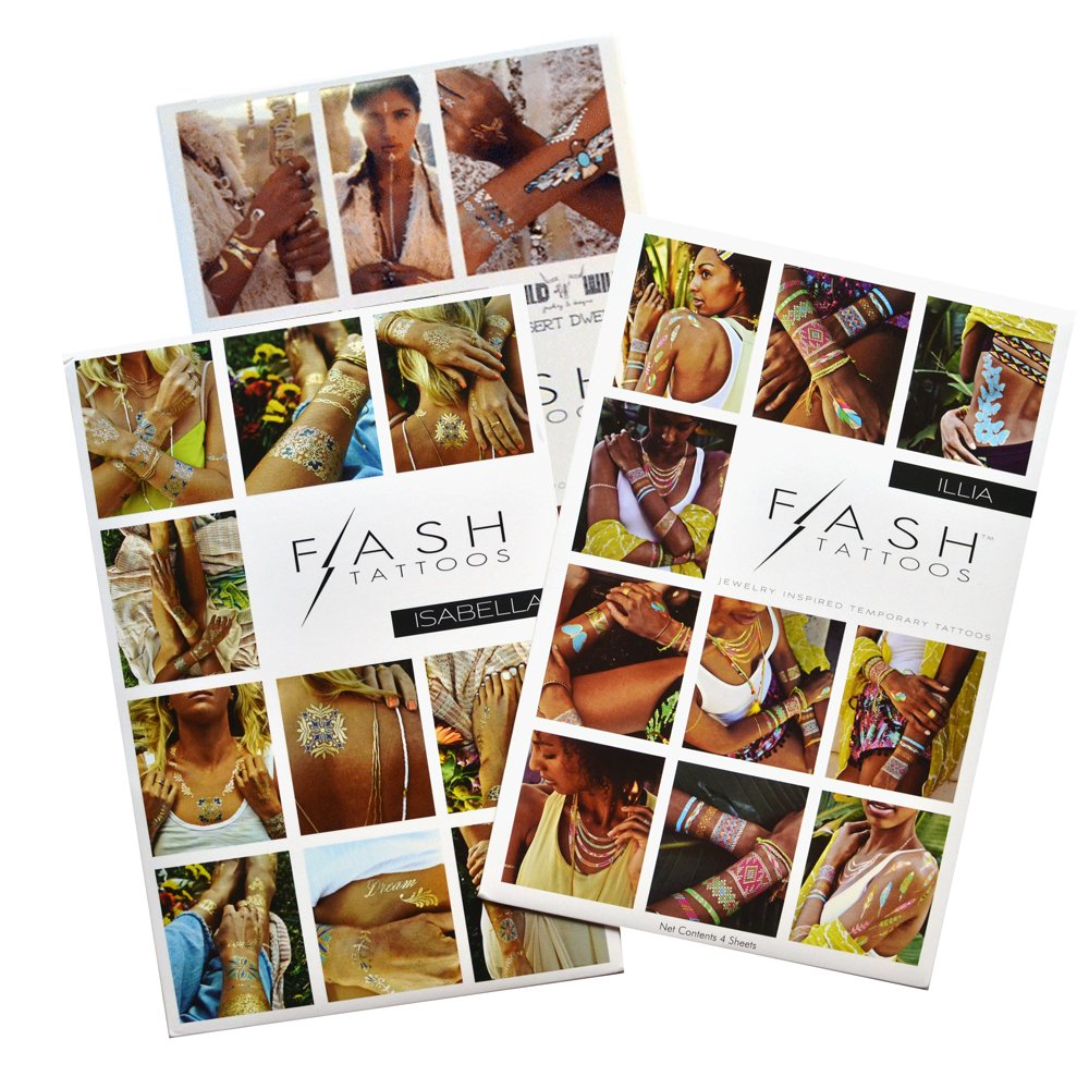 COLOR POP BUNDLE from Flash Tattoos includes the Desert Dweller pack, Isabella pack and Illia pack bundle includes 12 sheets with over 110 premium bright waterproof metallic temporary jewelry tattoos