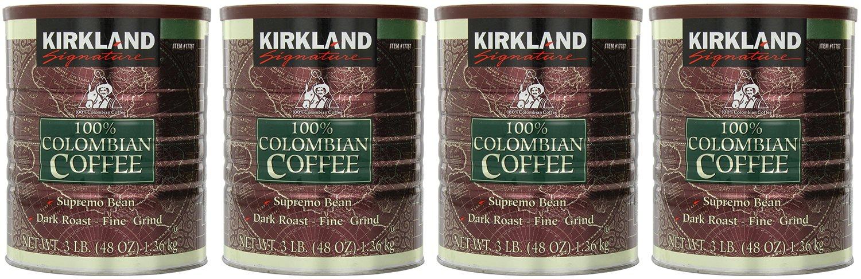 Kirkland 100% Colombian Coffee Supremo Bean Dark Roast-Fine Grind, 12 LBS