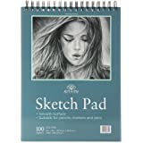 100 Sheets 9 x 12 Inch Smooth Sketchpad For Drawing Pencils Pens Markers Sketching Coloring Sketch Pad Spiral Bound…