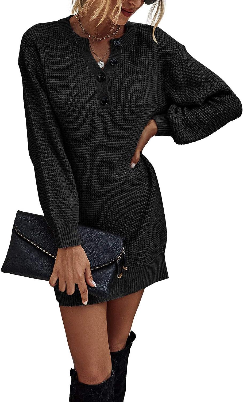 Adibosy Women's Long Sleeve Waffle Knit Sweater Dress V Neck Button Henley Mini Sweater Dresses Jumper S-XL