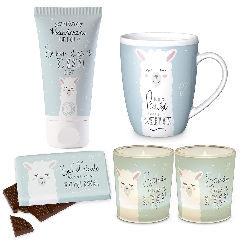 Preis am Stiel Geschenkset Lama Windlicht Tasse Schokolade Handcreme | Tafelschokolade | Hautpflege | Creme | Teelichthalter | Geschenkidee für Freundin
