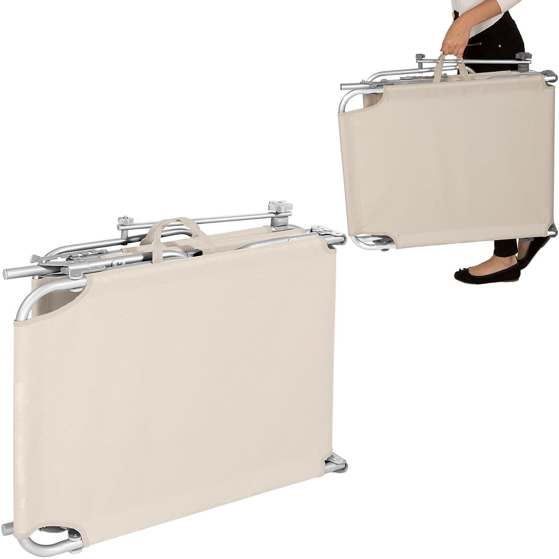 Disponibile in Diversi Colori 2X Beige | No. 401551 TecTake Set di 2 Sedia Sdraio da Esterno con Tetto Pieghevole in Alluminio