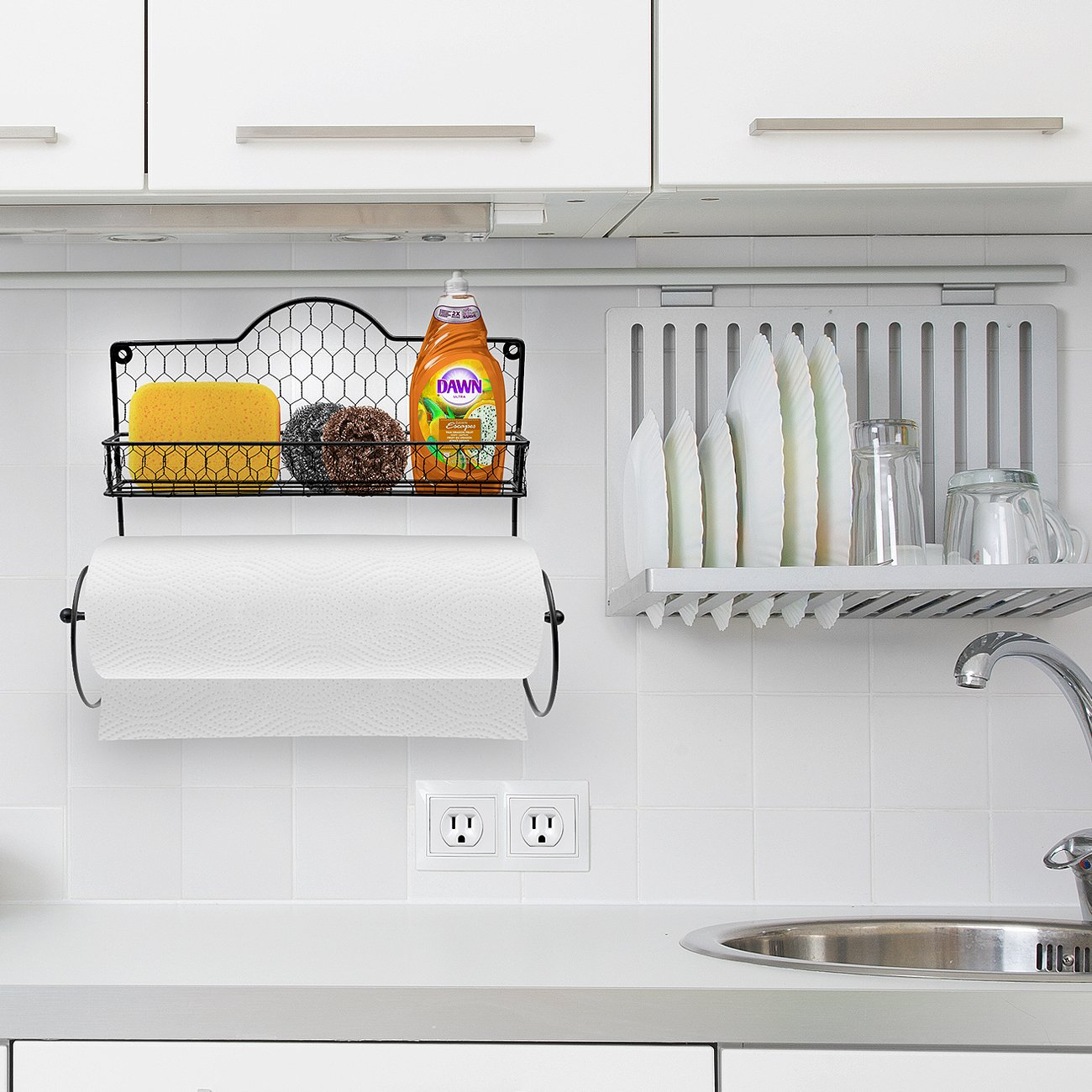 Sorbus Paper Towel Holder, Spice Rack and Multi-Purpose Shelf—Wall Mounted Storage for Kitchen Accessories, Towels, Toiletries, Supplies, etc.—Ideal for Kitchen/Bathroom—Made of Steel (Black) by Sorbus (Image #4)