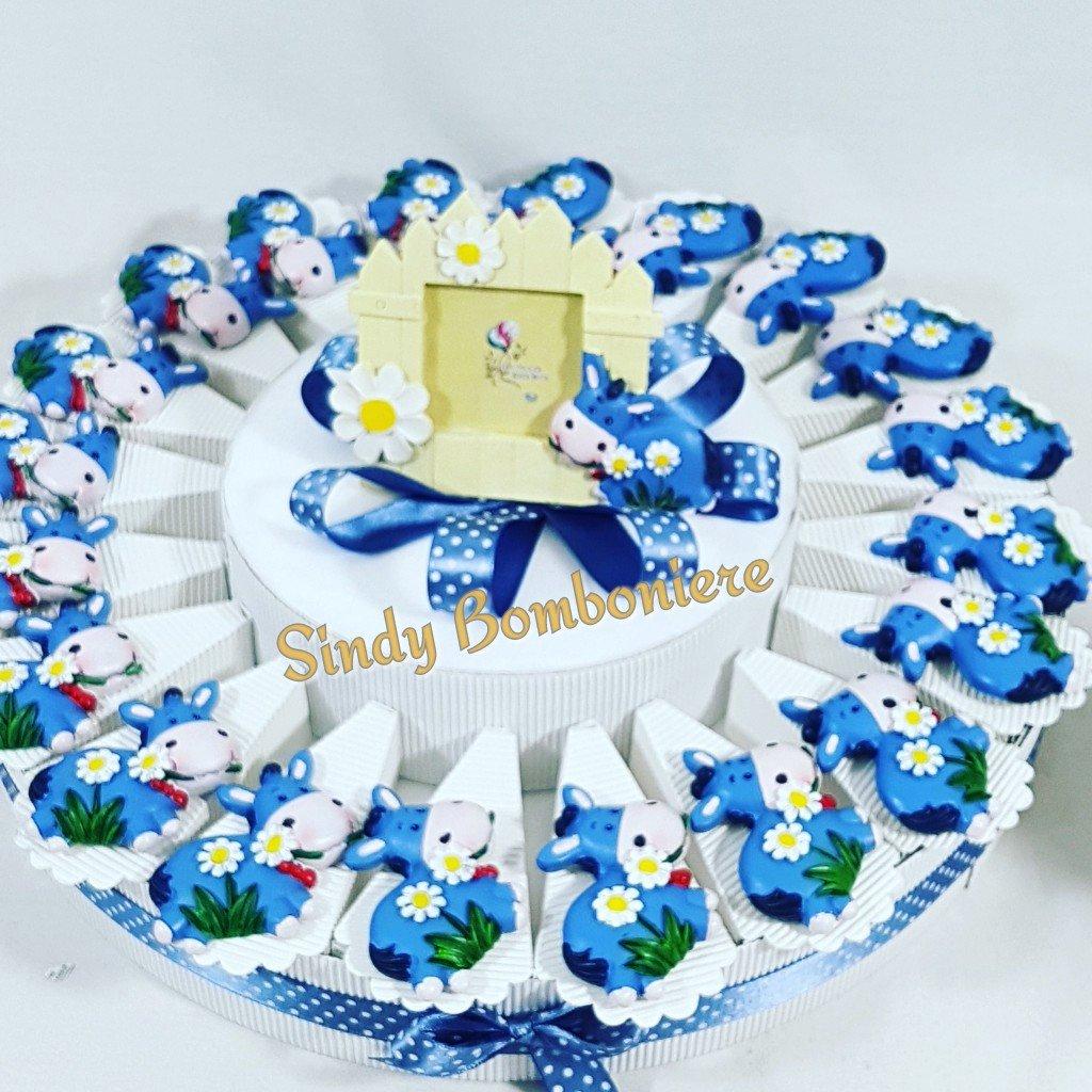 Torta Da 60 Fette + Centrale Torte Bomboniere Magnet Esel blau Junge Geburt Taufe 1 Geburtstag Torta da 60 fette + centrale
