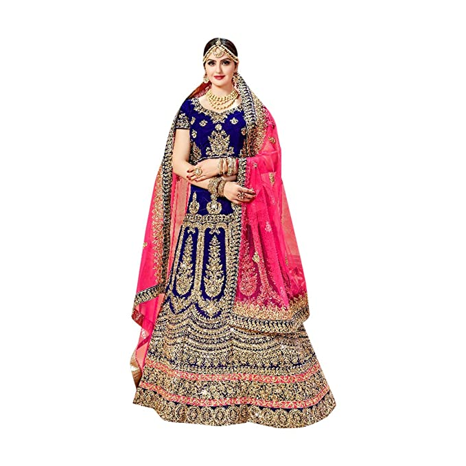 Amazon.com: Bollywood Custom a medida mujeres azul Lehenga ...