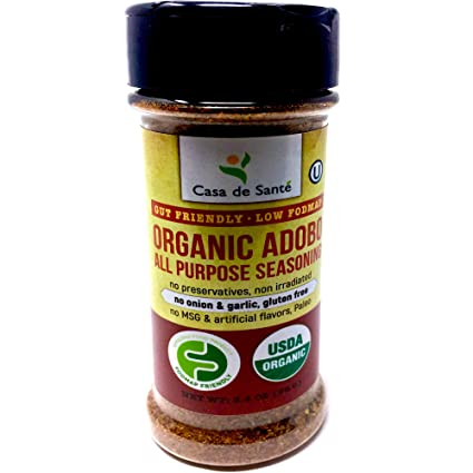 Amazon Com Organic Low Fodmap Certified Paleo Seasoning Adobo No Onion No Garlic Gluten Free Low Salt No Carb Keto Whole30 Kosher All Natural No Gmo Non Irradiated Popcorn Seasoning Casa De Sante