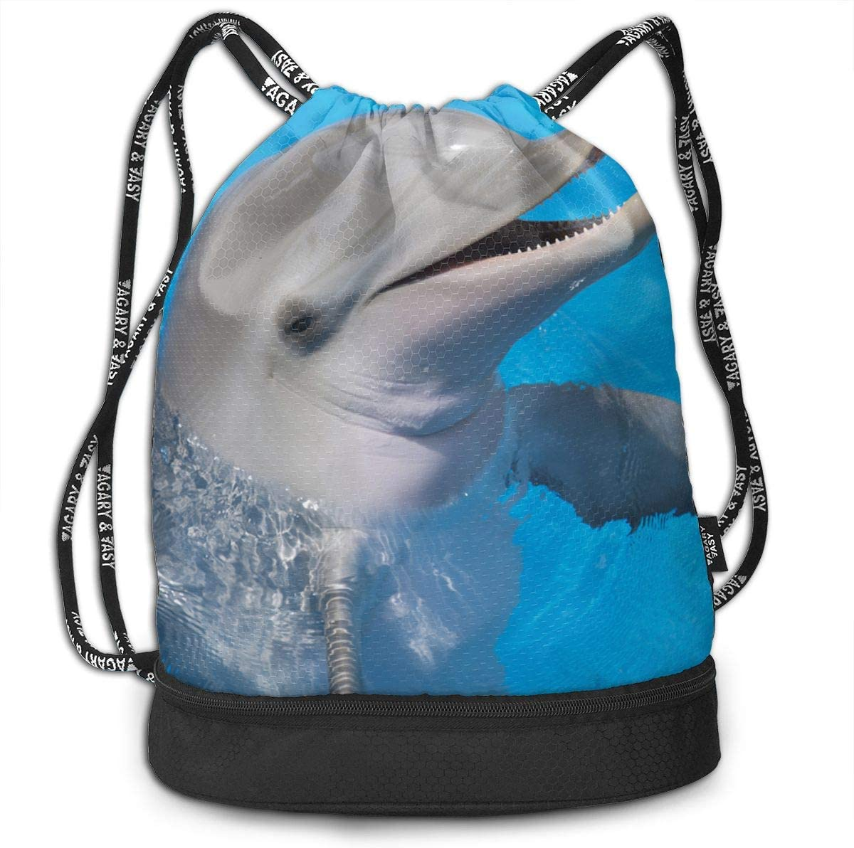 Dolphin Cinch Backpack Tote Sack Large Storage Sackpack for Gym Travel Hiking Multipurpose Drawstring Bag for Men /& Women