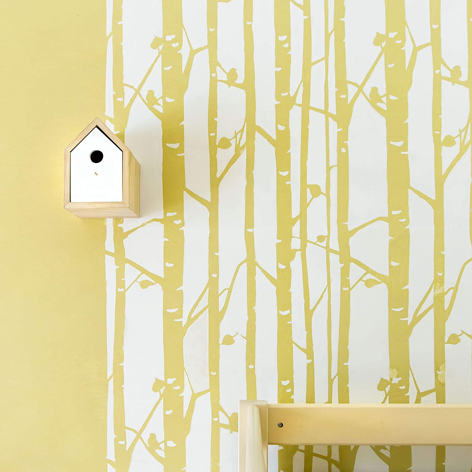 STENCILIT Birch Tree Wall Stencil for Painting - Scandinavian Wall Accent - Reusable Template - Large Mylar Washable Plastic - Repeatable Tree Pattern for Wall Décor