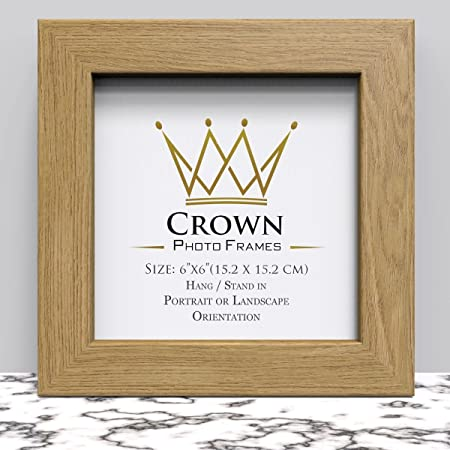 Crown Oak Photo Frame for 6x6 Inches (15.2 x 15.2 cm) Picture Photo ...