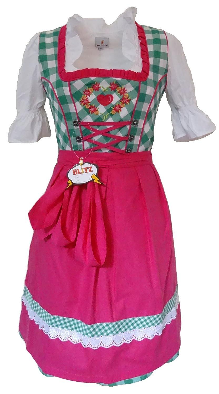 Blitz Dirndl 3 tlg. Trachtenkleid Kleid, Bluse, Schürze, ca. 90cm Größe : 34 bis 42 verschiedene Farben