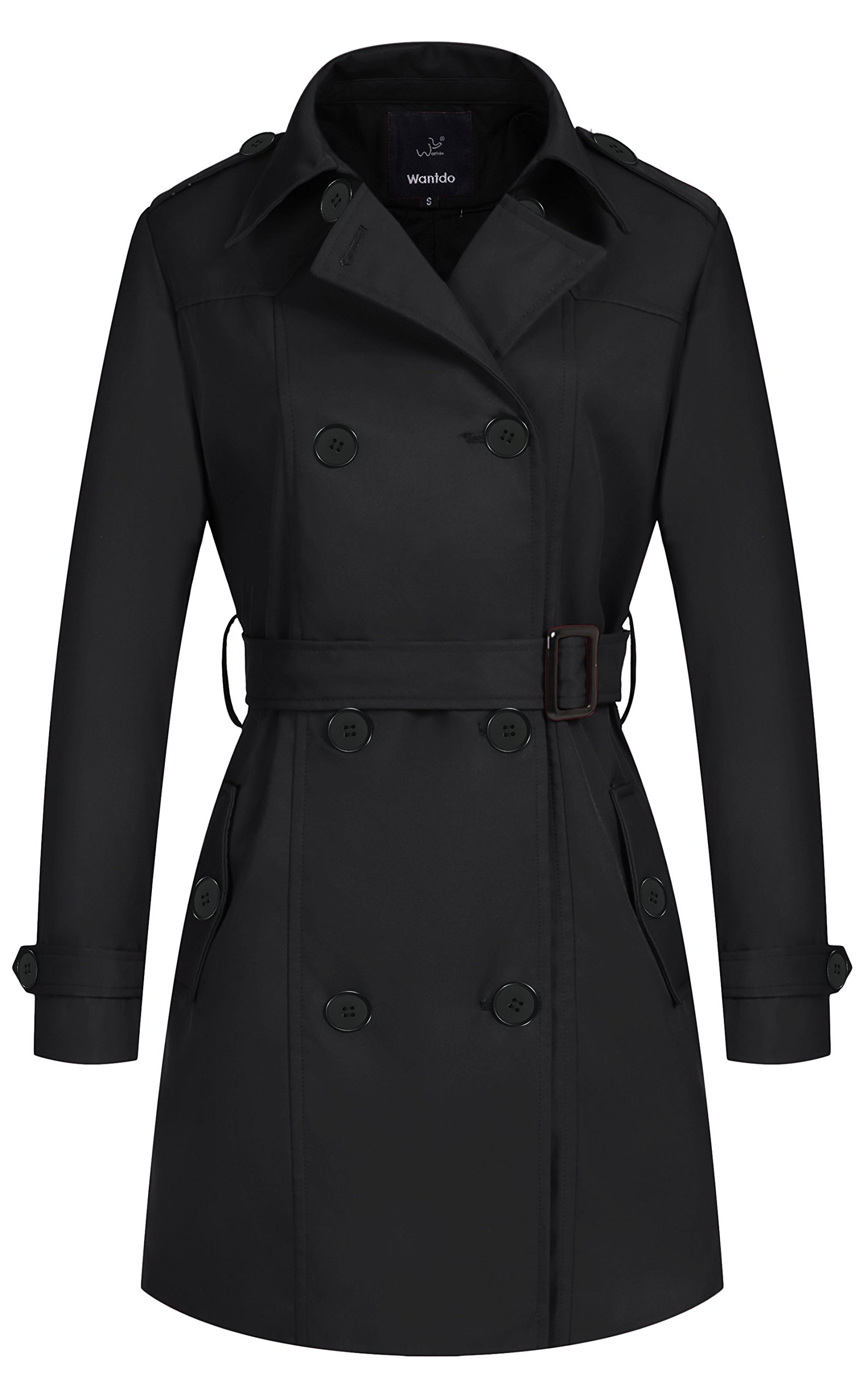 Wantdo Women's Peacoat Long Trench Coat with Belt Black Medium by Wantdo