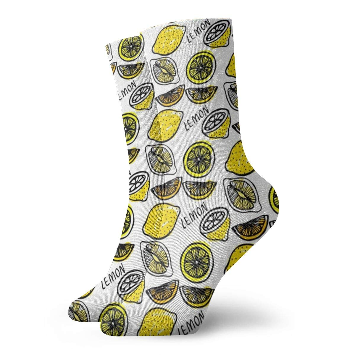 Hand-drawn-lemons Unisex Funny Casual Crew Socks Athletic Socks For Boys Girls Kids Teenagers
