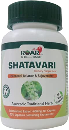 High Potency Shatavari 1200 Mg Daily With Std Extract Of 50% Saponins (600mg Saponins) For Hormonal Balance And Menstrual Regulation by Roar To Life .......... Naturally