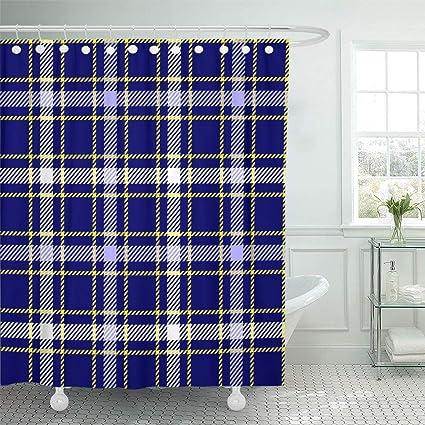 Emvency Shower Curtain 66quotx72quot Bathroom Tartan Plaid Pattern Light Blue White And Bright