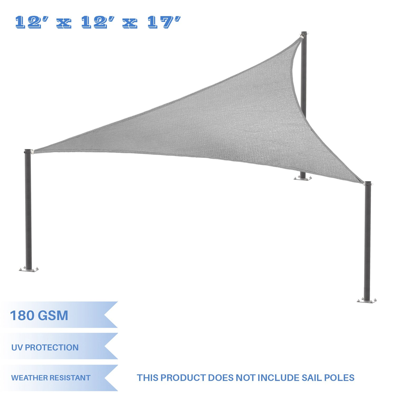 E&K Sunrise 12' x 12' x 17' Right Triangle Sun Shade Sail, Shade Fabric Cover Backyard Deck Sail Canopy UV Block - Light Grey