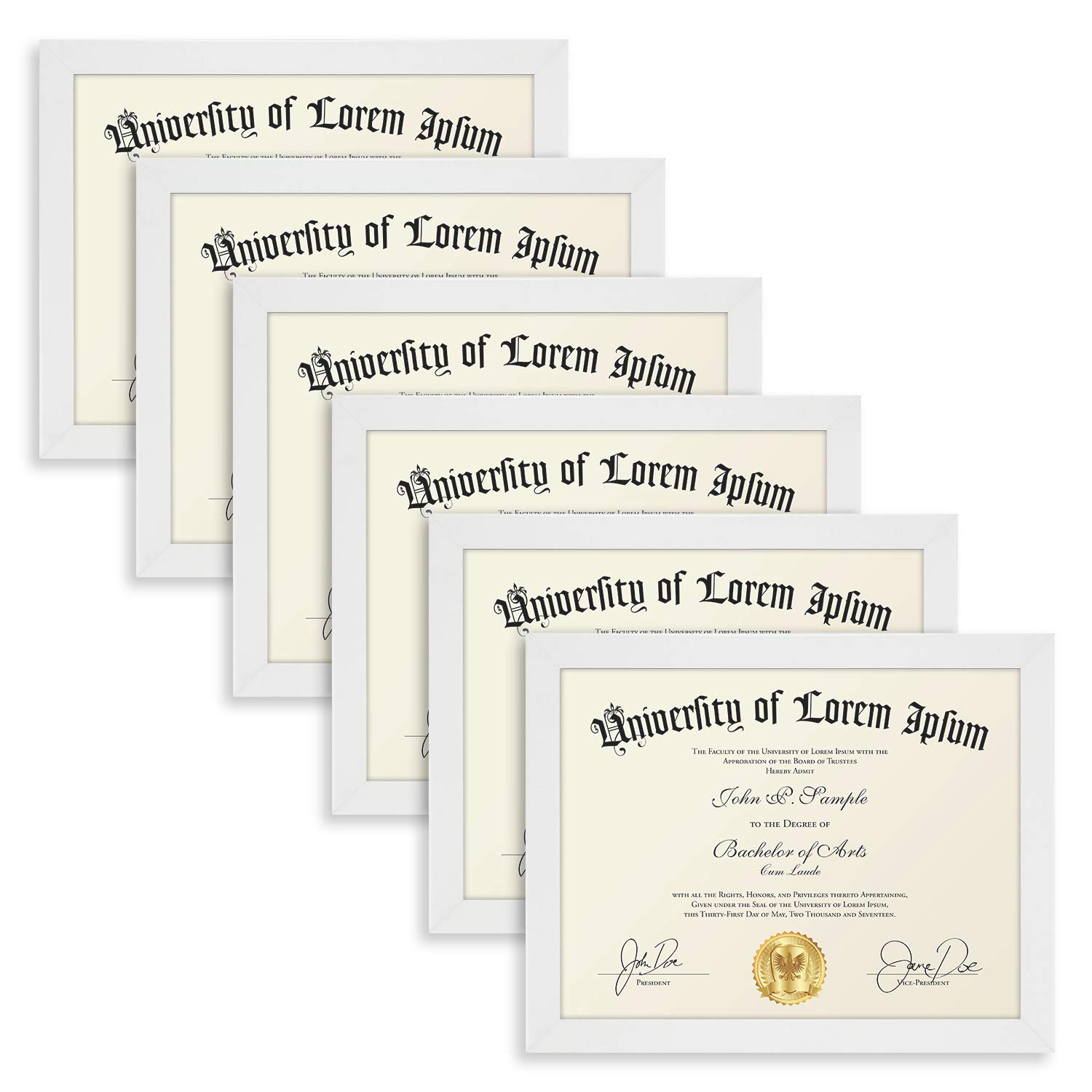 Icona Bay 8.5x11 Diploma Frame (6 Pack, White), White Sturdy Wood Composite Certificate Frame, Document Frame Bulk, Wall or Table Mount, Set of 6 Exclusives Collection